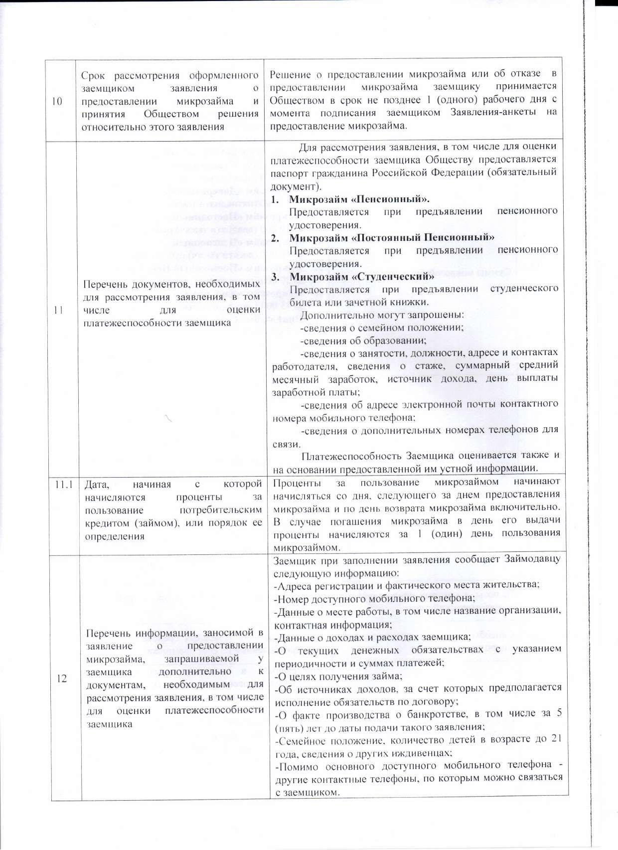 Информация об условиях предоставления, использования и возврата микрозаймов стр3
